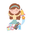 back to school student girl with blocks alphabet vector image