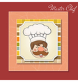Background with Smiling Chef and Menu vector image