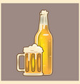 beer glass and bottle vintage style vector image
