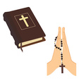 Bible and praying hands vector image vector image