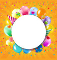 birthday banner with colorful balloons vector image vector image