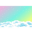 blank rainbow pastel sky background with clouds vector image