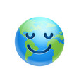 cartoon earth face smile with closed eyes icon vector image