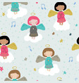 christmas seamless pattern with cute angels vector image