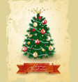 christmas tree on vintage background vector image vector image