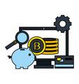 computer piggy bank bitcoin fintech digital vector image vector image
