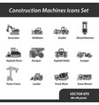 construction machines set of flat icons vector image vector image