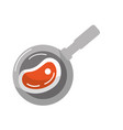 delicious meat inside skillet pan vector image
