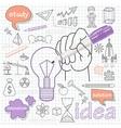 doodle set icons symbol idea vector image