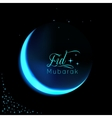 Eid Mubarak background with shiny moon and stars vector image vector image