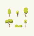 flat green trees set vector image vector image