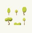 flat green trees set vector image