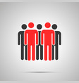 group people silhouette with two red leaders vector image vector image