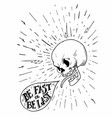 hand drawn vintage tattoo skull with motivational vector image