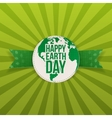 Happy Earth Day Banner with Text on green Ribbon vector image vector image