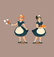 housemaids with duster and stack linen or towel vector image