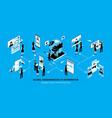 isometric social media horizontal concept vector image vector image