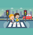 kids crossing traffic vector image