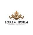 luxury vintage floral emblem with letter m hotel vector image