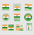 made in india icon set product labels republic vector image vector image