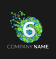 number six logo particles and bubble dots vector image