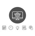 online shopping cart line icon monitor sign vector image vector image
