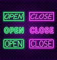 open close neon signs on dark background vector image vector image