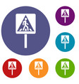 pedestrian sign icons set vector image vector image