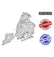 polygonal carcass mesh map of new york city vector image vector image
