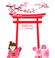 Sakura Gate Girl vector image vector image
