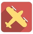 Screw Aeroplane Flat Rounded Square Icon with Long vector image