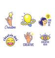 set cartoon icons creative idea theme hand vector image