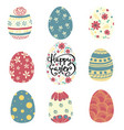 set of colorful pattern easter egg flat vector image