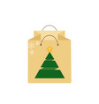 shopping bag with christmas tree isolated on vector image
