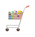 Shopping cart with products supermarket
