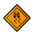 slippery road traffic signal vector image vector image