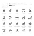 sport outline icons crossfit handcycle vector image