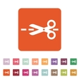The scissors icon Cut here symbol Flat vector image