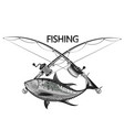 tuna and fishing rod symbol vector image vector image