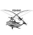 tuna and fishing rod symbol vector image vector image