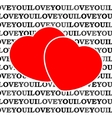 Two red hearts in front of a white background vector image