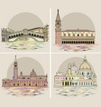 venice landmarks and buildings set vector image