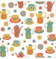 vintage tes pots tea cups seamless vector image