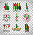 wine shop logos set vector image