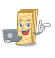with laptop waffle character cartoon style vector image