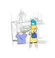 woman chooses clothes in a store comics cartoon vector image