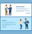 working order bad job boss praising posters vector image vector image