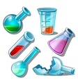 Large set of flasks with liquid and without it vector image