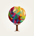 abstract low poly style colorful tree concept vector image vector image