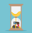 african businessman working hard in the hourglass vector image vector image